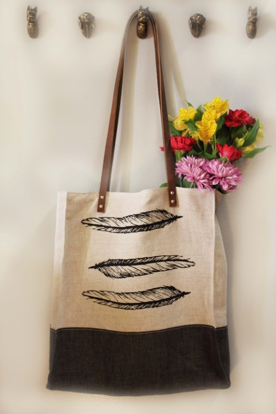 Linen feather tote