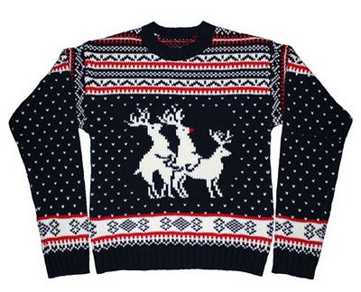 "the ""threesome"" christmas sweater"