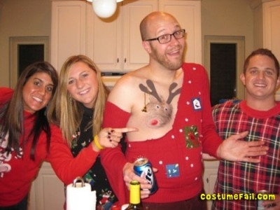 Rudolph Nipple Ugly Christmas Sweater